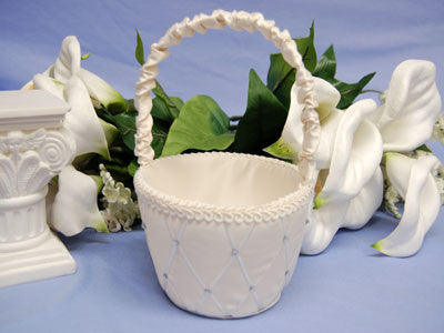 Flower Girl Baskets Ivory ( 7 Inch Tall ) -