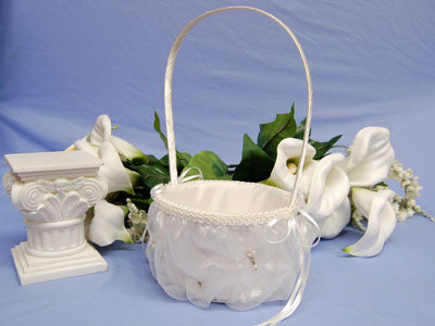 Flower Girl Baskets Ivory ( 11 Inch Tall ) -