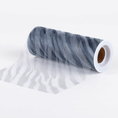 Zebra White Animal Printed Tulle Roll ( W: 6 inch | L: 10 Yards ) -