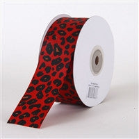 Grosgrain Leopard Print Ribbon Red ( W: 1-1/2 inch | L: 25 Yards ) -