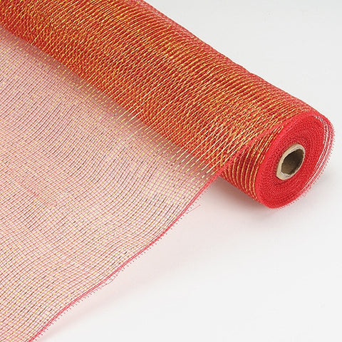 Laser Metallic Floral Deco Mesh Wrap Red ( 21 Inch x 10 Yards ) -