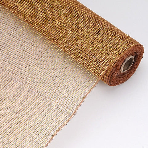Laser Metallic Floral Deco Mesh Wrap Brown ( 21 Inch x 10 Yards ) -