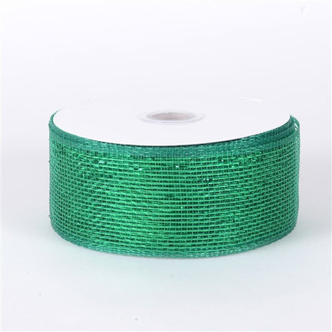 Metallic Deco Mesh Ribbons Emerald ( 2.5 inch x 25 yards ) -