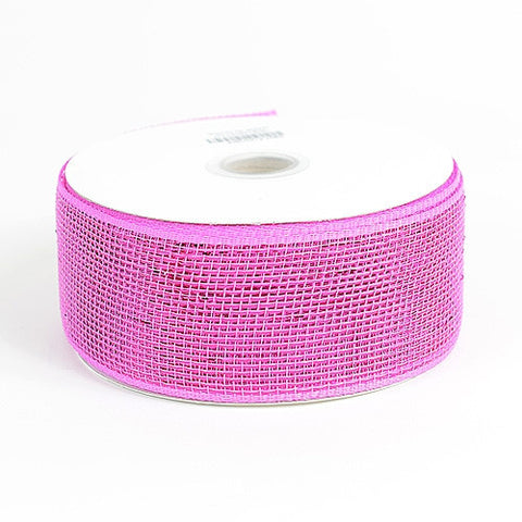 Metallic Deco Mesh Ribbons Fuchsia ( 2.5 inch x 25 yards ) -