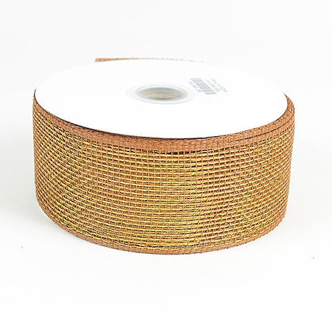 Metallic Deco Mesh Ribbons Chocolate Brown ( 2.5 inch x 25 yards ) -