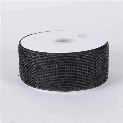 Metallic Deco Mesh Ribbons Black ( 4 inch x 25 yards ) -