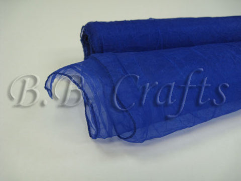Premium Crinkle Organza Overlays Royal Blue ( W: 24 inch | L: 10 Yards ) -