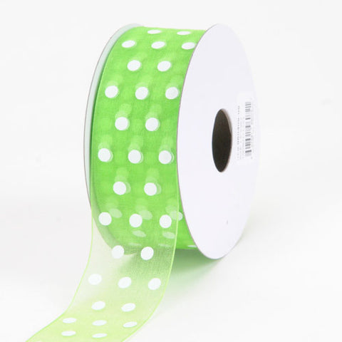 Organza Polka Dot Ribbon Apple Green ( W: 1-1/2 inch | L: 25 Yards ) -