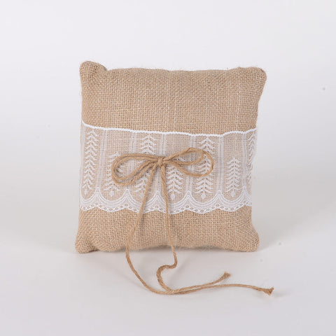 Ring Bearer Pillow Burlap ( 7 x 7 inches ) -