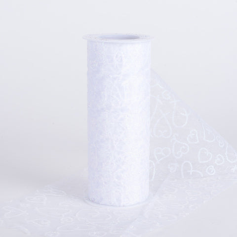 6 inch Glitter Hearts Organza Roll White ( W: 6 inch | L: 10 Yards ) - Ribbons Cheap