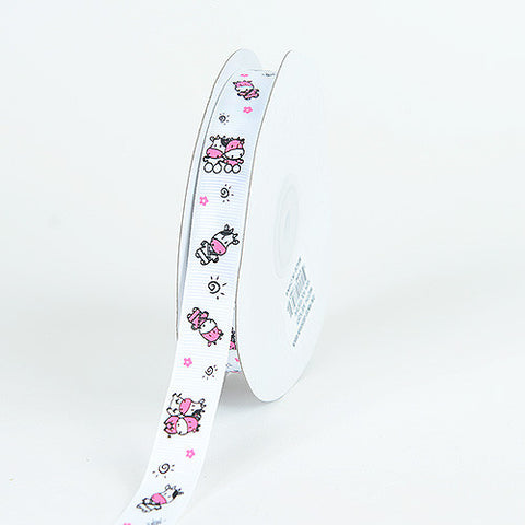 Grosgrain Ribbon MooMoo Cow Print White ( W: 5/8 inch | L: 25 Yards ) -