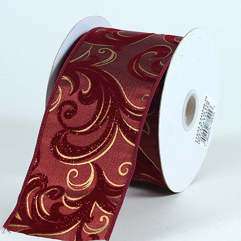 Christmas Ribbon Burgundy ( 1-1/2 Inch x 10 Yards ) -
