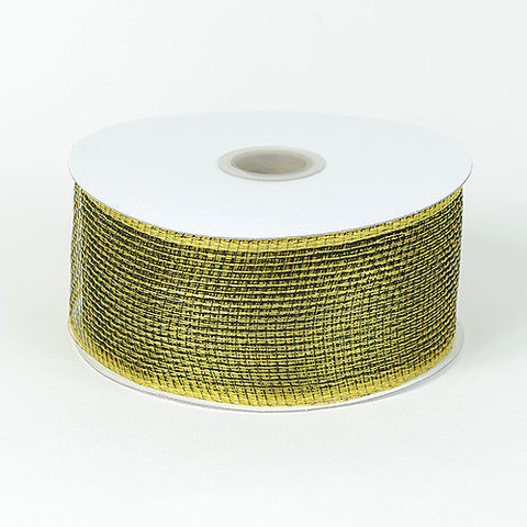 Floral Mesh Ribbon Black Gold ( 4 Inch x 25 Yards ) -