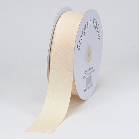 Grosgrain Ribbon Matte Finish Ivory ( W: 3/8 inch | L: 50 Yards ) -