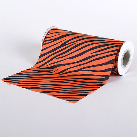 Animal Printed Satin Spool Orange ( W: 6 inch | L: 10 Yards ) - Ribbons Cheap
