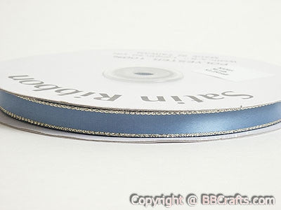 Satin Ribbon Lurex Edge Antique Blue with Gold Edge ( 1/4 inch | 50 Yards ) -