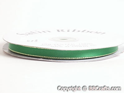 Satin Ribbon Lurex Edge Emerald with Gold Edge ( W: 3/8 inch | L: 50 Yards ) -