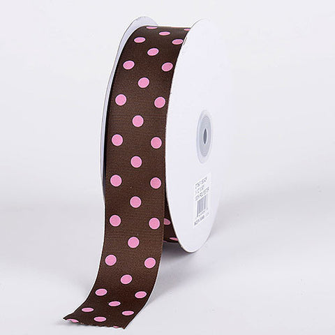 Grosgrain Ribbon Polka Dot Chocolate with Pink Dots ( W: 3/8 inch | L: 50 Yards ) -