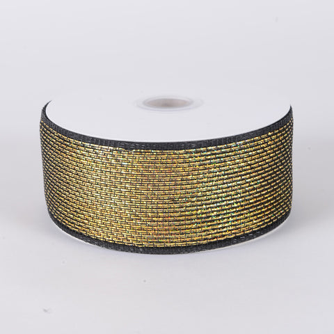 Metallic Deco Mesh Ribbons Black Gold ( 2.5 inch x 25 yards ) -