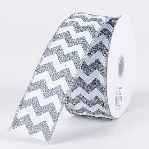 Chevron Canvas Wired Edge Silver ( 2-1/2 inch | 10 Yards ) -