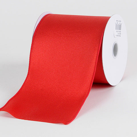 Satin Ribbon 4 Inch Double Faced Wired Red ( W: 4 inch | L: 10 Yards ) -