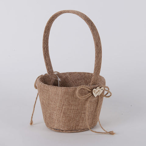 Flower Girl Baskets Burlap ( 9 Inch ) -