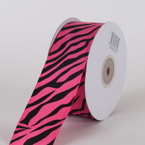 Grosgrain Ribbon Animal Print Hot Pink ( W: 5/8 inch | L: 25 Yards ) -