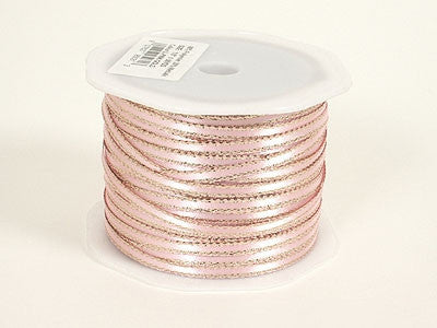 Satin Ribbon with Gold Edge 1/8 Inch Light Pink ( W: 1/8 inch | L: 100 Yards ) -