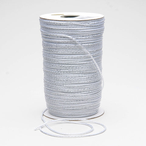 2mm Satin Rat Tail Cord White with Silver ( 2mm x 200 Yards ) - Ribbons Cheap