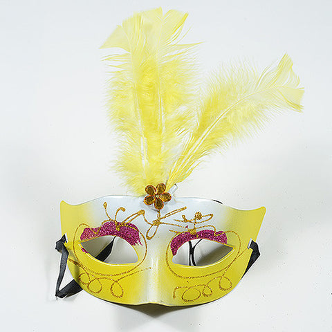 Masquerade Masks Yellow White ( 1 Mask ) -