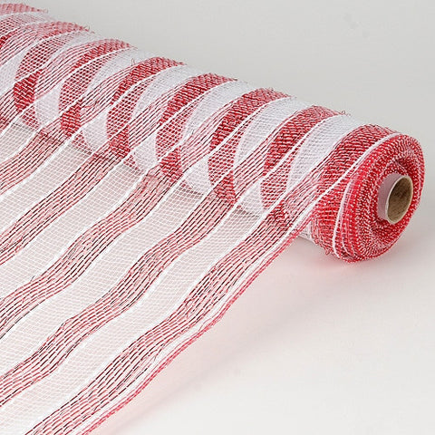 Poly Deco Mesh Wrap with Laser Mono Stripe White with Red ( 21 Inch x 10 Yards ) -
