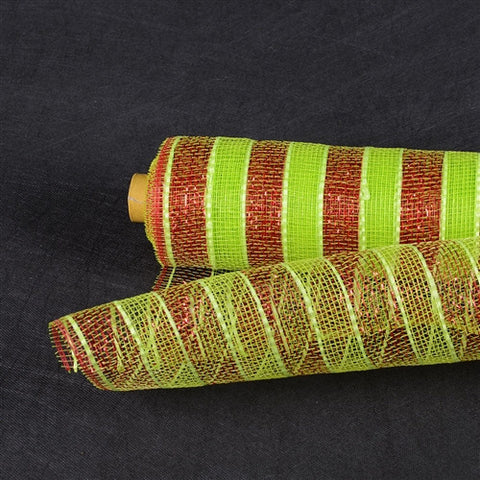 Poly Deco Mesh Wrap with Laser Mono Stripe Apple Green with Red Lines ( 21 Inch x 10 Yards ) -