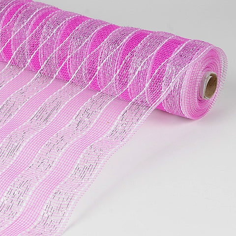 Poly Deco Mesh Wrap with Laser Mono Stripe Fuchsia With Silver ( 21 Inch x 10 Yards ) -