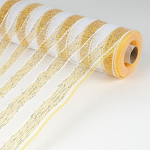 Poly Deco Mesh Wrap with Laser Mono Stripe Gold with White ( 21 Inch x 10 Yards ) -