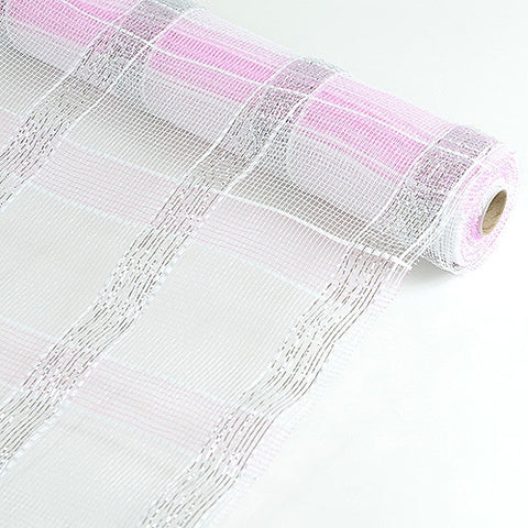 Poly Deco Xmas Check Mesh Metallic Stripe White with Pink ( 21 Inch x 10 Yards ) -