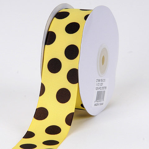 Grosgrain Ribbon Jumbo Dots Canary with Brown Dots ( W: 1-1/2 inch | L: 25 Yards ) -