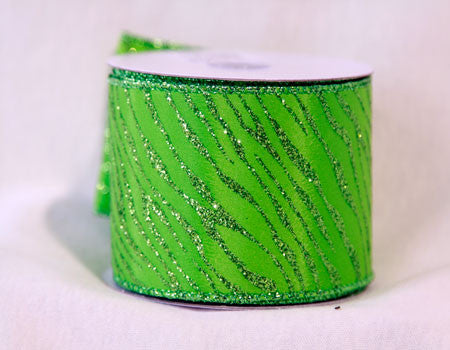 Animal Print Ribbon Apple Green ( 2-1/2 Inch x 10 Yards ) - Ribbons Cheap
