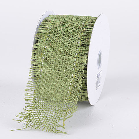 Frayed Edge Burlap Wired Edge Moss ( W: 2-1/2 Inch | L: 10 Yards ) -