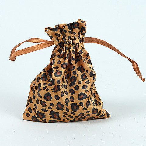Animal Print Satin Bags Leopard ( 3x4 Inch - 10 Bags ) - Ribbons Cheap