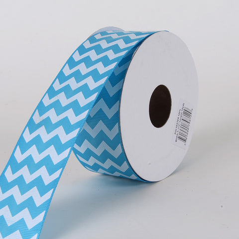 Grosgrain Chevron Ribbon Turquoise ( 1-1/2 inch | 10 Yards ) -