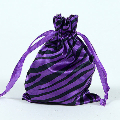 Animal Print Satin Bags Purple ( 4x5 Inch - 10 Bags ) - Ribbons Cheap