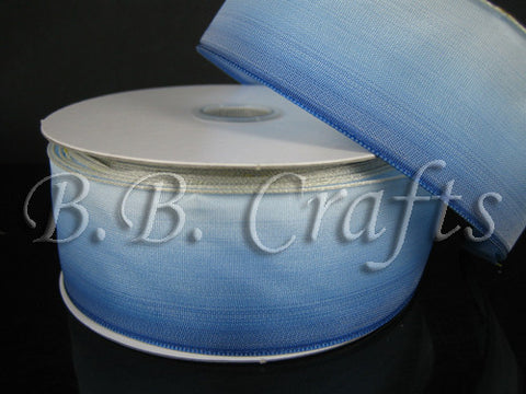 Ombre Ribbon Wired Edge Blue White ( W: 1-1/2 inch | L: 25 Yards ) -