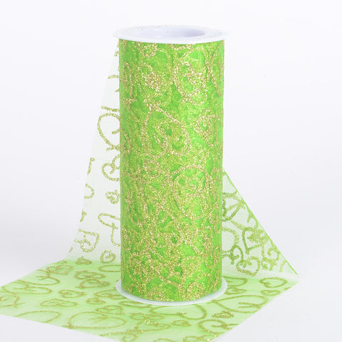 6 inch Glitter Hearts Organza Roll Apple Green ( W: 6 inch | L: 10 Yards ) - Ribbons Cheap