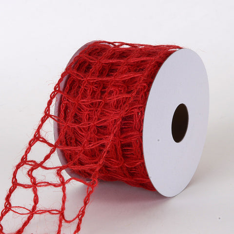 Burlap Net Ribbon Red ( W: 2-1/2 inch | L: 10 Yards ) -