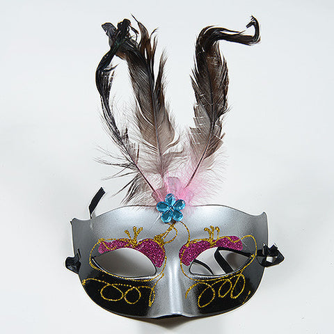 Masquerade Masks Black with Silver Edge ( 1 Mask ) -