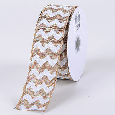 Chevron Canvas Wired Edge Natural ( 2-1/2 inch | 10 Yards ) -