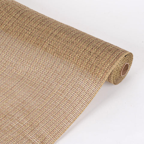 Faux Burlap Plaid Mesh Natural ( 21 inch x 5 Yards ) -