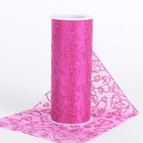 6 inch Glitter Hearts Organza Roll Fuchsia ( W: 6 inch | L: 10 Yards ) - Ribbons Cheap