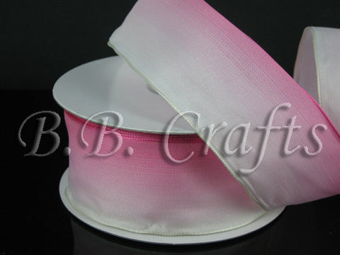 Ombre Ribbon Wired Edge Pink White ( W: 1-1/2 inch | L: 25 Yards ) -