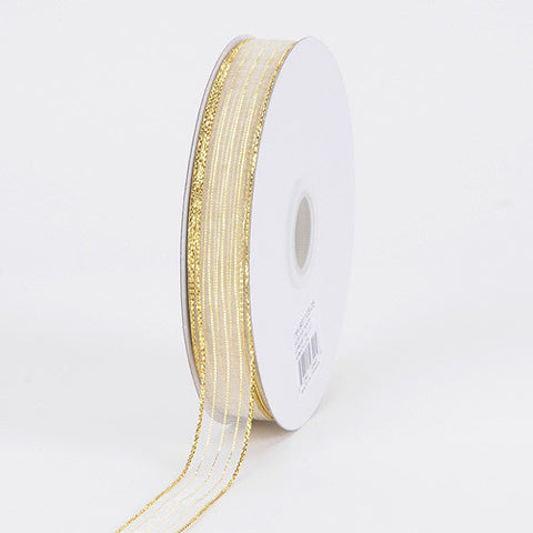 Corsage Ribbon White With Gold ( W: 3/8 inch | L: 50 Yards ) -